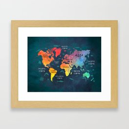 world map 49 color Framed Art Print