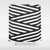 stripes Shower Curtains featuring Stripes by Dizzy Moments