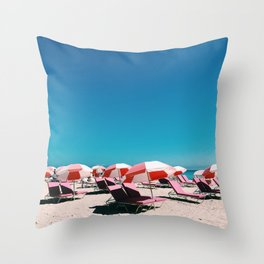 Miami Beach Brellas Throw Pillow