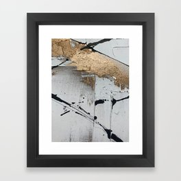 Still: an abstract mixed media piece in black, white, and gold by Alyssa Hamilton Art Framed Art Print