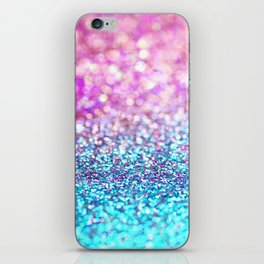 Pastel sparkle- photograph of pink and turquoise glitter iPhone Skin