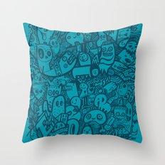 Blue Doodle Throw Pillow