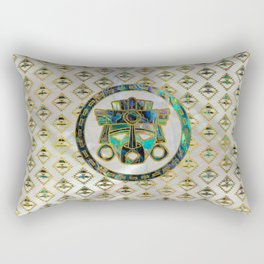 Tribal Ethnic  Mask Gold on Abalone Shell and Pearl Rectangular Pillow