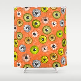 Ditsy Eyes (orange, yellow, grey, green) Shower Curtain