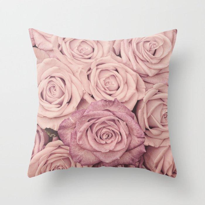 Some People Grumble - Pink Rose Pattern - Roses Throw Pillow