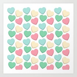 Pastel Love Hearts Art Print
