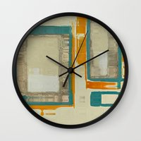 mid century modern Wall Clocks featuring Mid Century Modern Abstract by Corbin Henry