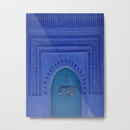 Islamic Architecture Blue Turquoise Secret Doorway Beautiful Engravings Metal Print