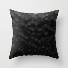 Black abstract hexagon pattern Throw Pillow
