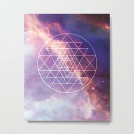Seed of Life, Sacred Geometry, Meditation, Awakening, Stars, Mystical, Cosmos, Universe, Spiritual, Geometric, Metaphysical, Bohemian, Galaxy, New Age, Pastel, Starry Sky, Boho Style, Magical Home, Celestial, Cosmic Metal Print