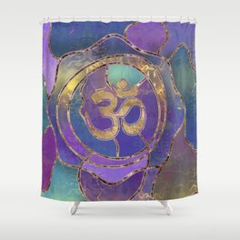 Om Symbol Golden and Paint texture Shower Curtain