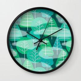 Misty Emerald Forest Wall Clock
