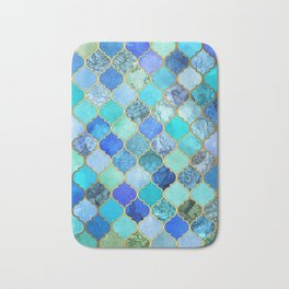 Cobalt Blue, Aqua & Gold Decorative Moroccan Tile Pattern Bath Mat
