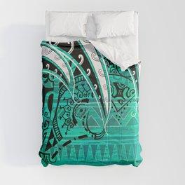 Samoan - Hawaiian - Polynesian Teal Village Tribal Ink Comforters