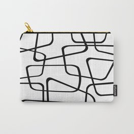Mid Century Black And White Pattern Carry-All Pouch