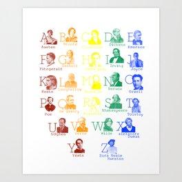 Alphabet of Literary Greats - Rainbow Art Print