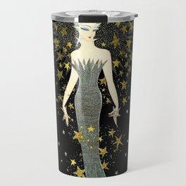 "Art Deco Sepia Illustration ""Star Studded Glamor"" Travel Mug"