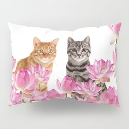 Red and Tiger cat in Lotos Flower Field Pillow Sham