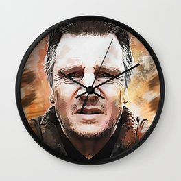 Liam Neeson Caricature Wall Clock