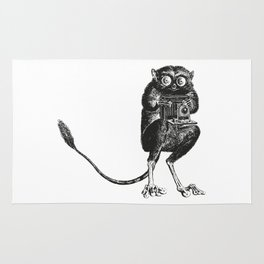 Say Cheese! | Tarsier with Vintage Camera | Black and White Rug