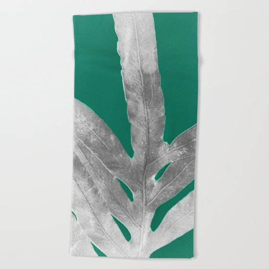 Christmas Fern, Holiday Green with Silver Winter Leaf Beach Towel