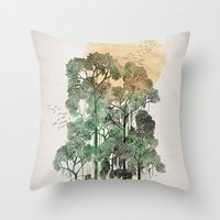 dragon ball z Throw Pillows featuring Jungle Book by David Fleck