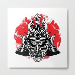 Samurai Oni Demon Mask Metal Print
