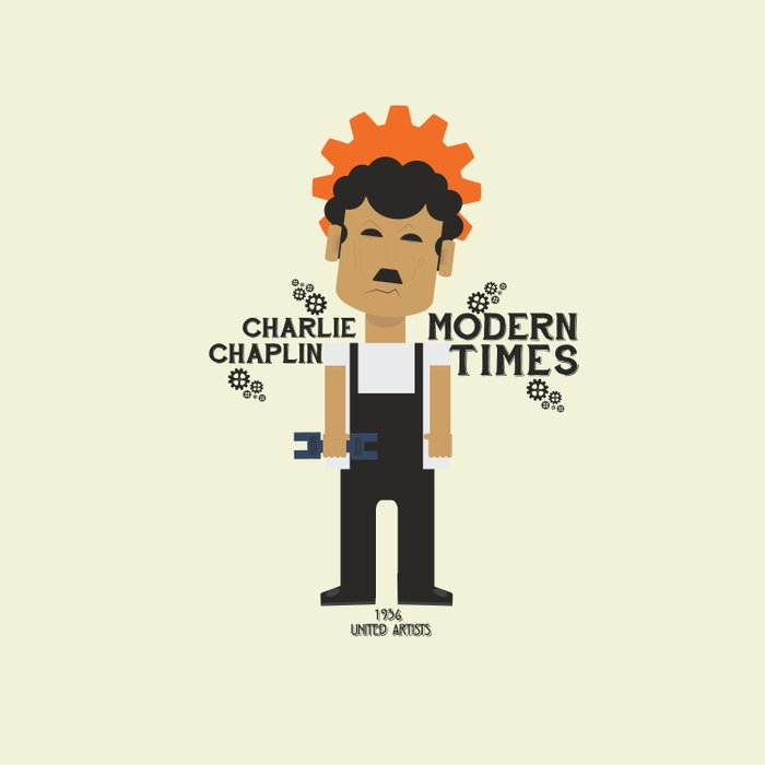 Modern Times, Charlie Chaplin, minimal movie poster, classic film, Charlot playbill Comforters