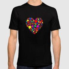 Rainbow Heart MEDIUM Mens Fitted Tee Black