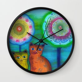 Cats and Trees Wall Clock