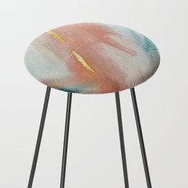 Celestial [3]: a minimal abstract mixed-media piece in Pink, Blue, and gold by Alyssa Hamilton Art Counter Stool