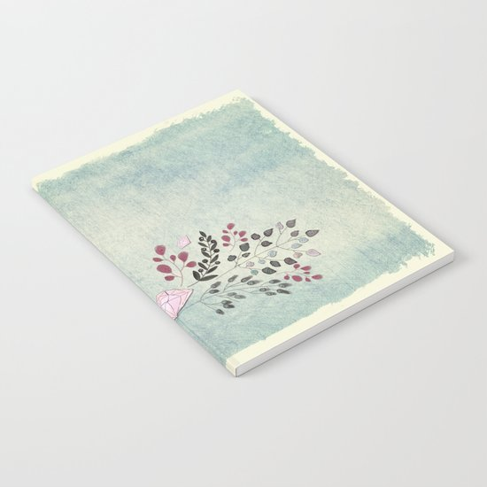 Diamonds and flowers - Floral watercolor illustration Notebook