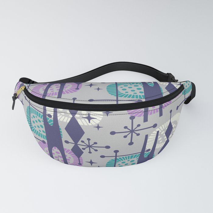 Retro Atomic Mid Century Pattern Grey Teal Blue and Lavender Fanny Pack