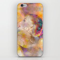profile woman and flowers iPhone & iPod Skin