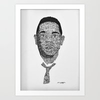 kendrick lamar Art Prints featuring Lyrical Portrait - Kendrick Lamar  by ILLESTrations By Ce