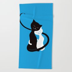 White And Black Cats In Love Beach Towel