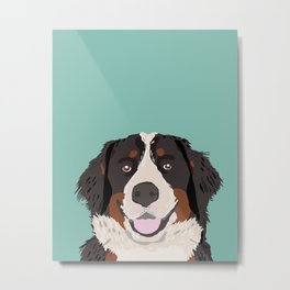Bernese Mountain Dog pet portrait dog art illustration fur baby dog breed unique gift for dog lover  Metal Print