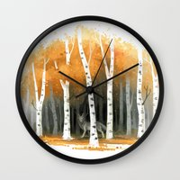 autumn Wall Clocks featuring Autumn Wolf by Freeminds