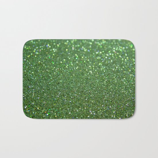 Green sparkle glitter effect background for girlies on #Society6 Bath Mat