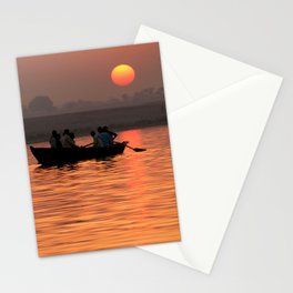 Rowing Boat on the Ganges at Sunrise Stationery Cards