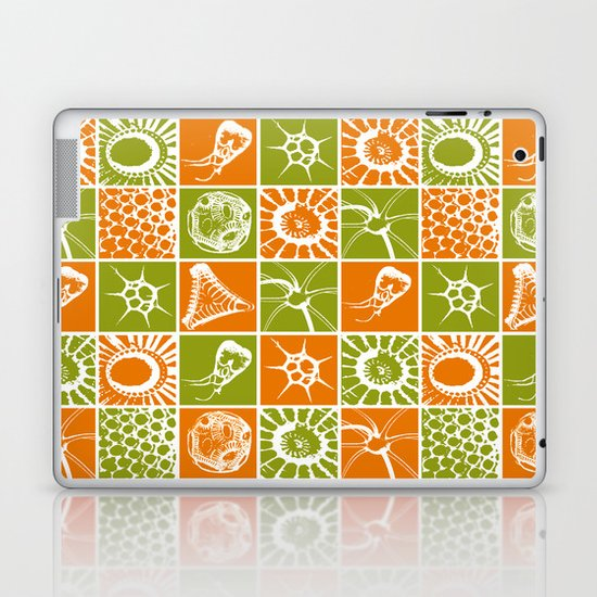 Microscopic Life Sillouetts Orange and Green Laptop & iPad Skin