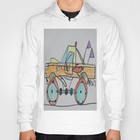 truck Hoodies featuring Rocket Truck by Ryan van Gogh