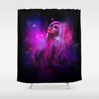 hologram Shower Curtains featuring Jem and the Hologram by Claudia Digital Graphics