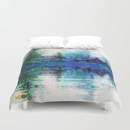 SCENIC BLUE MOUNTAIN PINES LAKE REFLECTION Duvet Cover