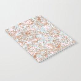 Mint Blush & Rose Gold Metallic Marble Texture Notebook