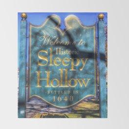 Sleepy Hollow Village Sign Throw Blanket