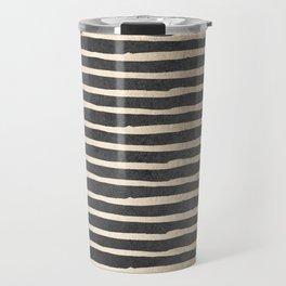 White Gold Sands Thin Stripes on Black Travel Mug