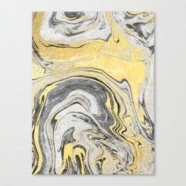 Reiko - gold grey black and white minimal marble abstract ink japanese modern monoprint art  Canvas Print
