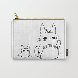 Chibi Totoros in Black and White Carry-All Pouch
