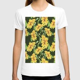 Sunflower field. Watercolor seamless pattern. T-shirt